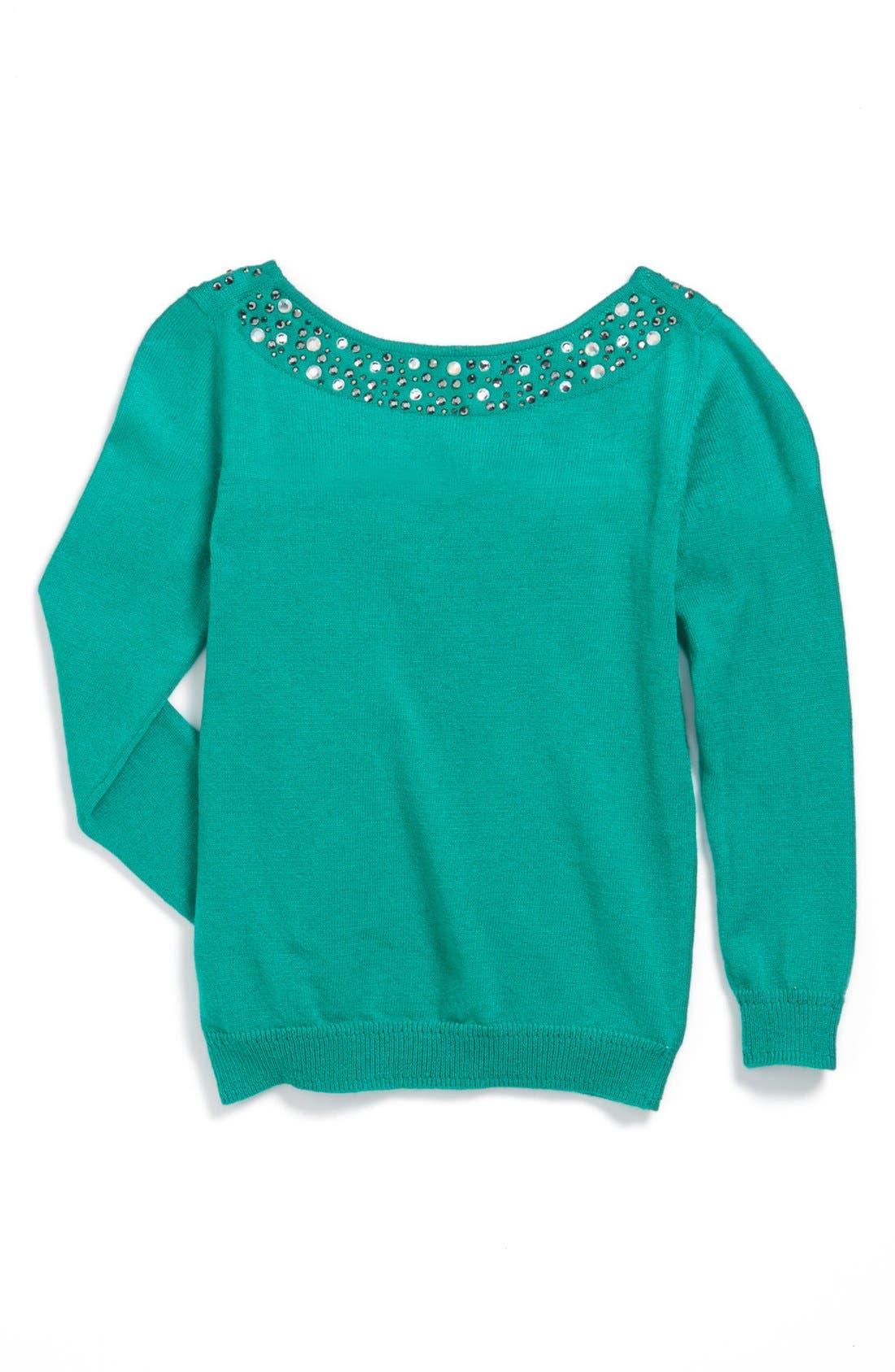 Alternate Image 2  - Milly Minis Rhinestone Collar Sweater (Toddler Girls, Little Girls & Big Girls)