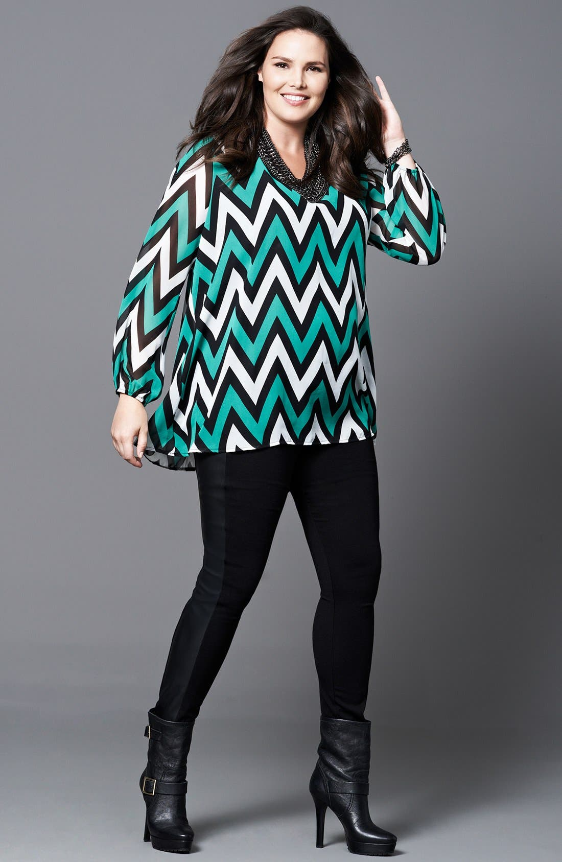 Alternate Image 4  - Kische Chevron Stripe Chiffon Tunic (Plus Size)