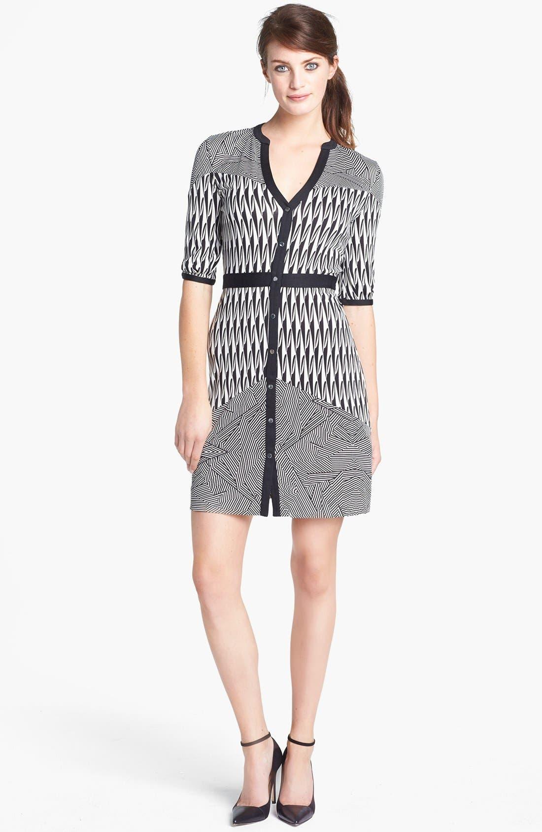 Main Image - Diane von Furstenberg 'Fiona' Button Front Knit Silk Dress