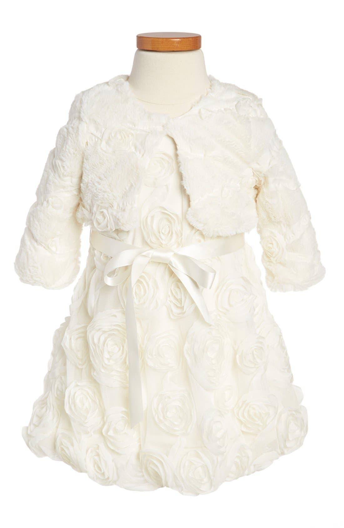 Main Image - Iris & Ivy Rosette Dress & Faux Fur Bolero (Toddler Girls)