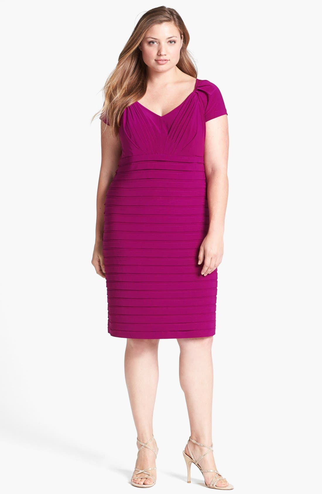 Alternate Image 1 Selected - Adrianna Papell Shutter Pleat Sheath Dress (Plus Size)