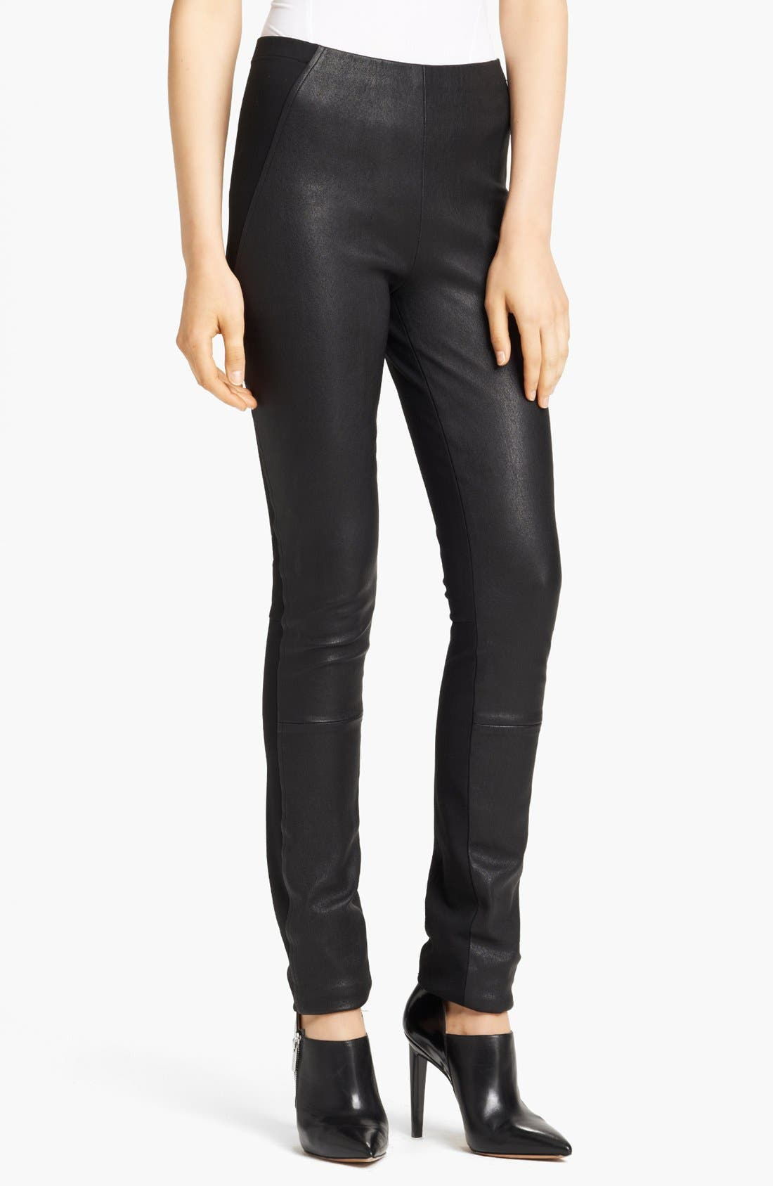 Alternate Image 1 Selected - Donna Karan Collection Skinny Leather & Jersey Pants