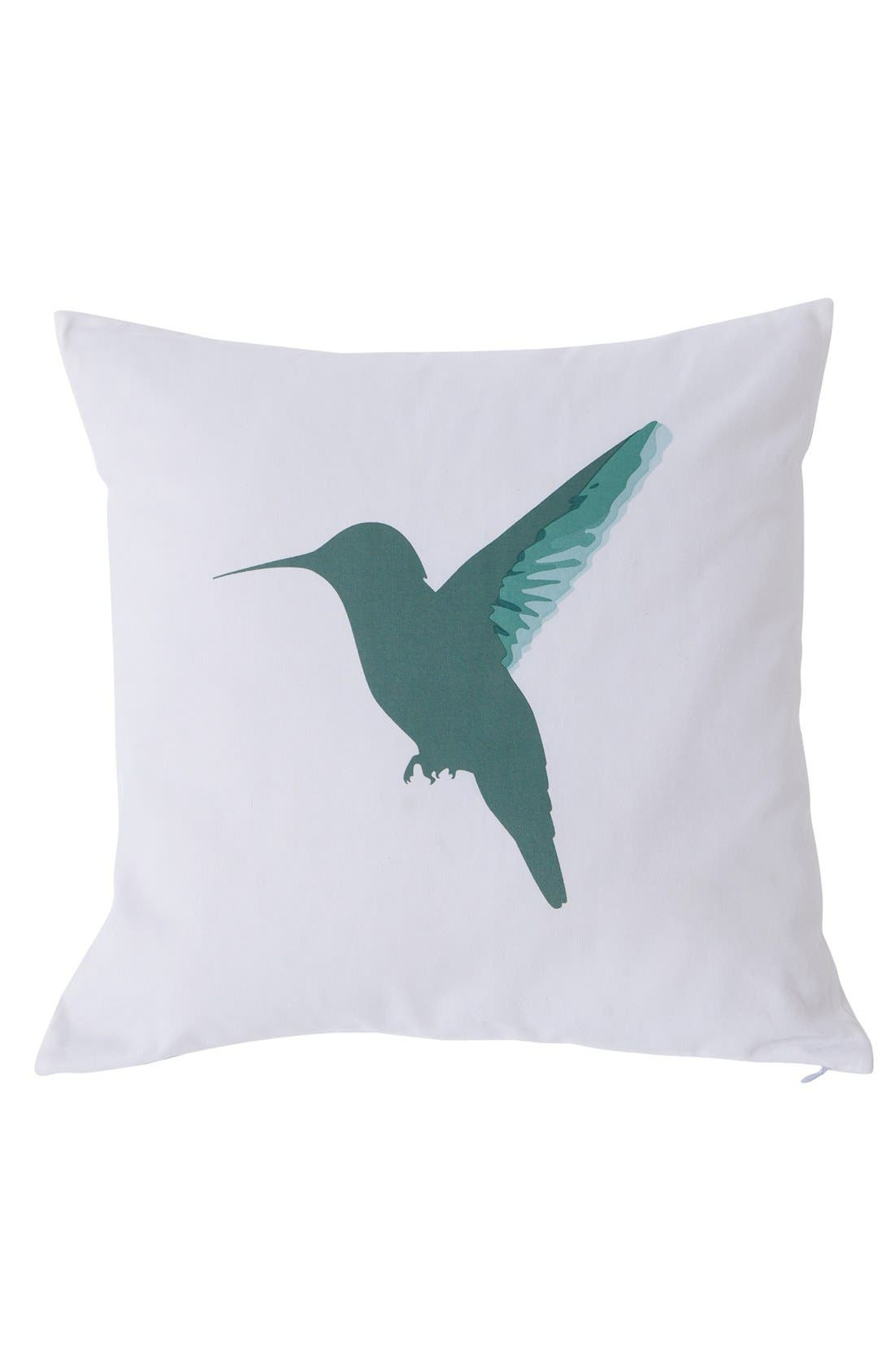 Reversible Hummingbird Pillow,                         Main,                         color, White/ Green/ Spice