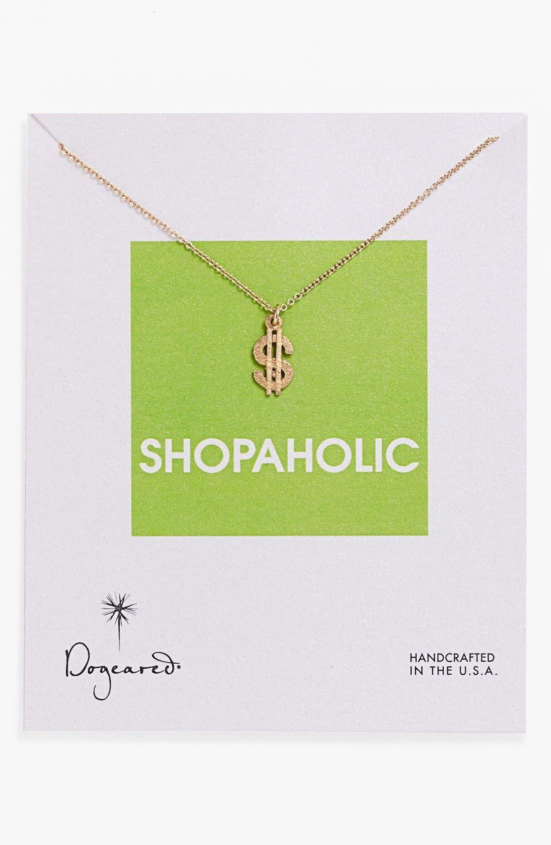 Alternate Image 1 Selected - Dogeared 'Reminder - Shopaholic' Boxed Pendant Necklace