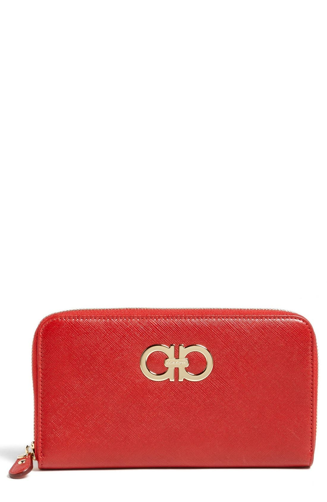 Alternate Image 1 Selected - Salvatore Ferragamo 'Gancini' Zip Around Wallet