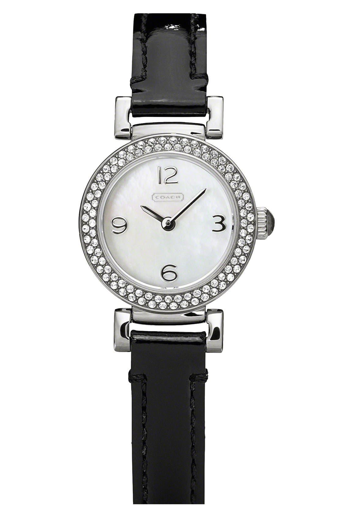 Main Image - COACH 'Madison' Round Crystal Bezel Leather Strap Watch, 23mm