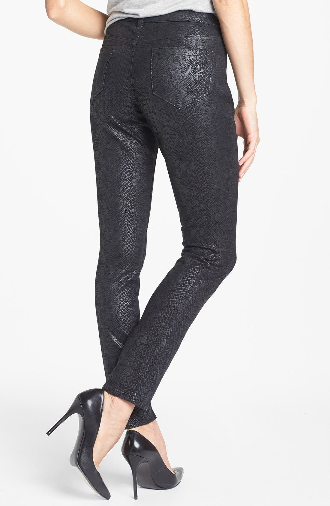 Alternate Image 2  - Two by Vince Camuto Foiled Snakeskin Print Skinny Jeans