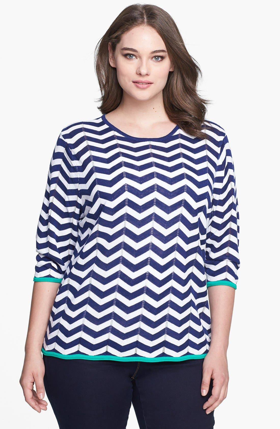 Alternate Image 1 Selected - Foxcroft Chevron Stripe Pullover Sweater (Plus Size)