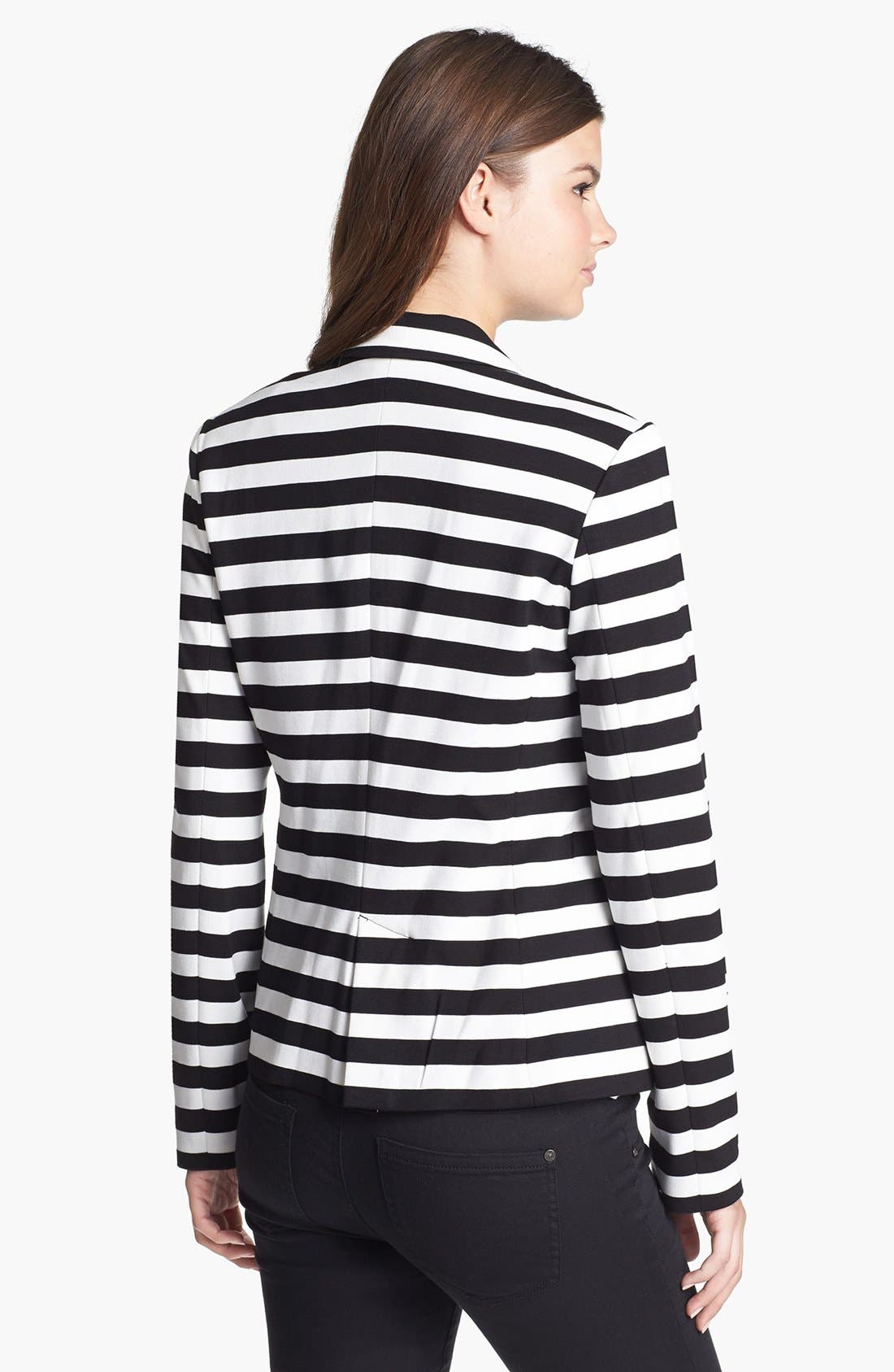 Stripe Ponte Blazer,                             Alternate thumbnail 2, color,                             Black/ White Stripe