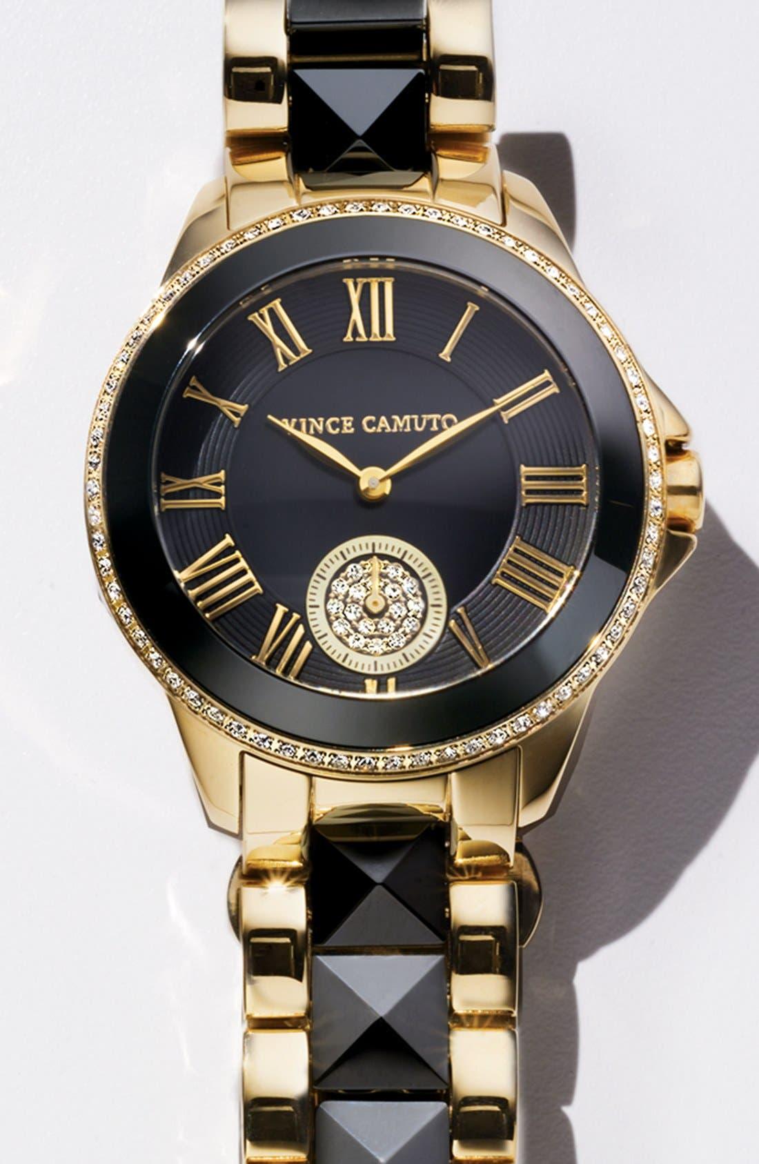 Alternate Image 2  - Vince Camuto Ceramic & Steel Pyramid Bracelet Watch, 38mm