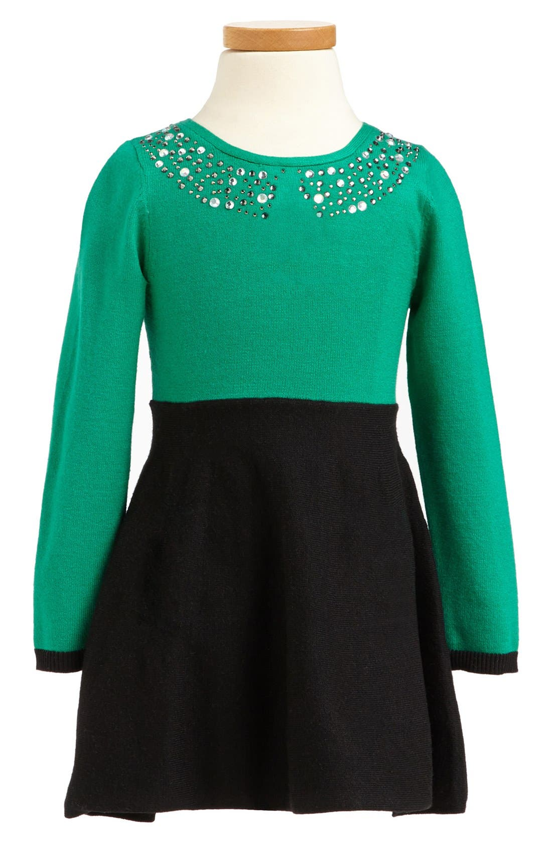 Main Image - Milly Minis Rhinestone Collar Dress (Toddler Girls, Little Girls & Big Girls)