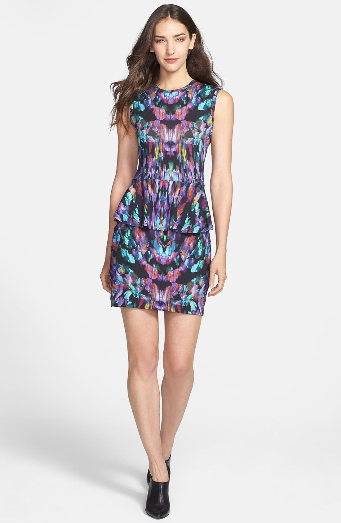 Main Image - Nicole Miller 'Aurora' Print Jersey Peplum Dress