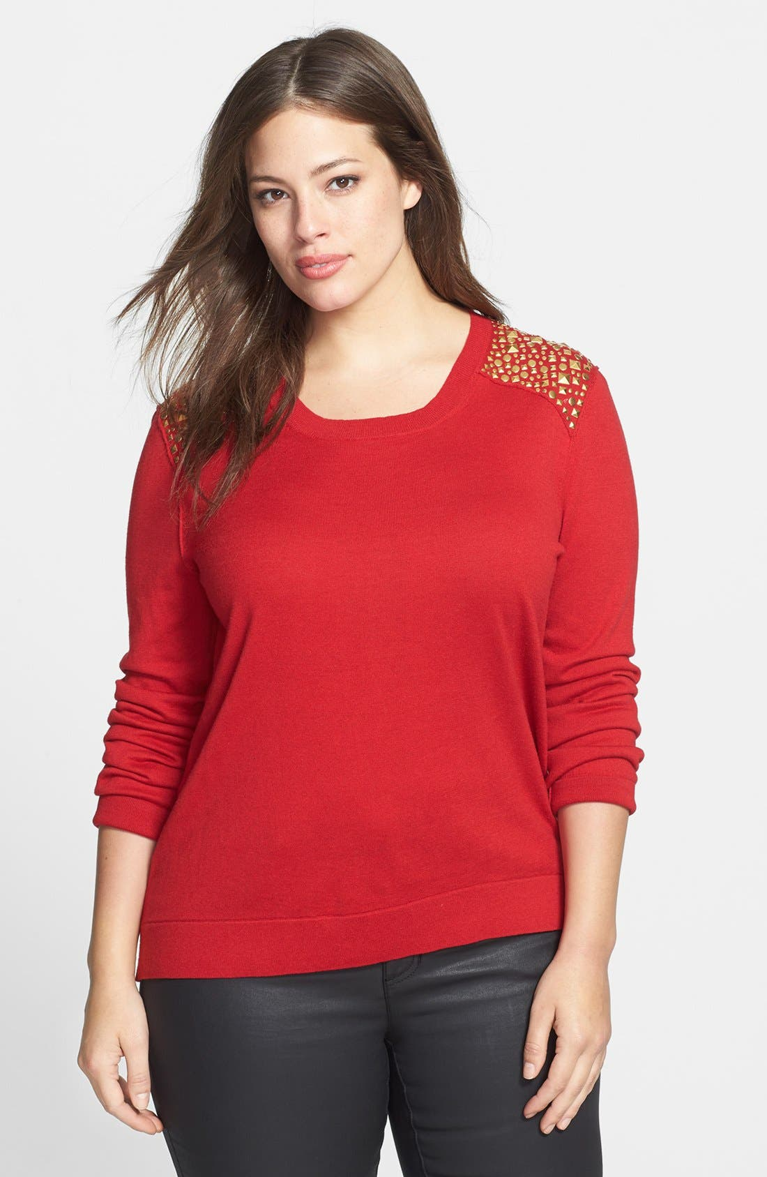 Alternate Image 1 Selected - MICHAEL Michael Kors Studded Shoulder Sweater (Plus Size)