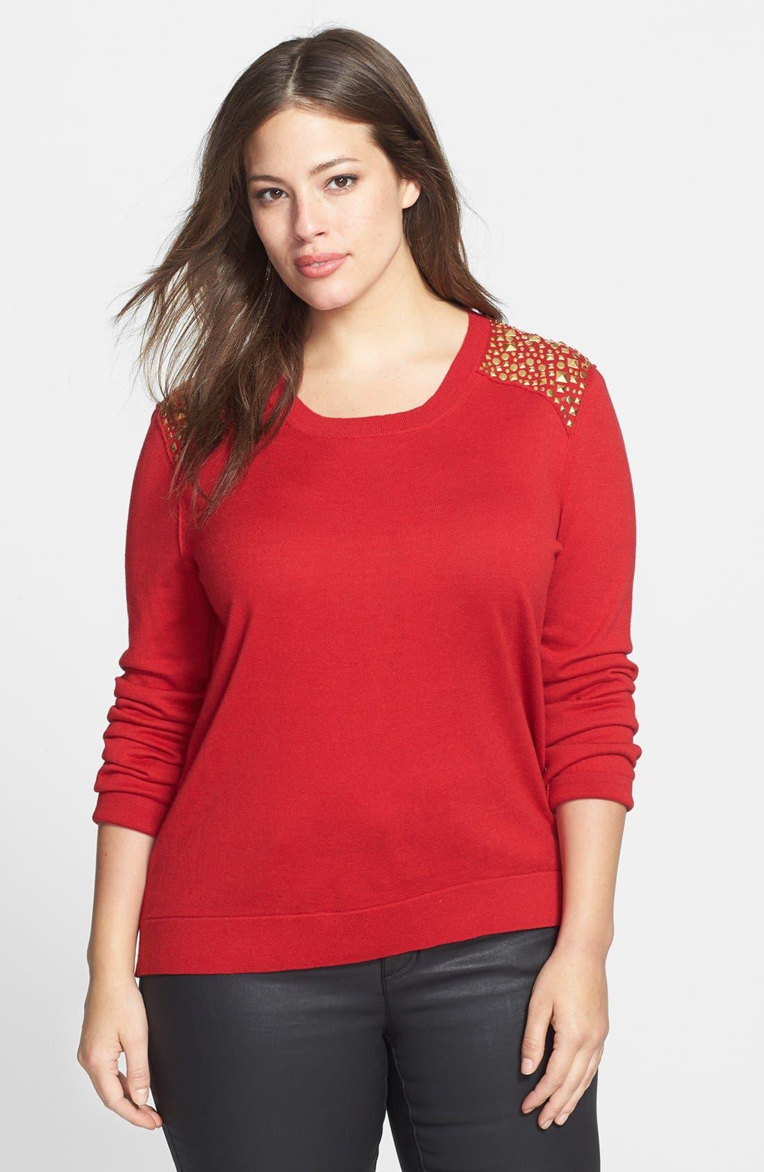 Main Image - MICHAEL Michael Kors Studded Shoulder Sweater (Plus Size)