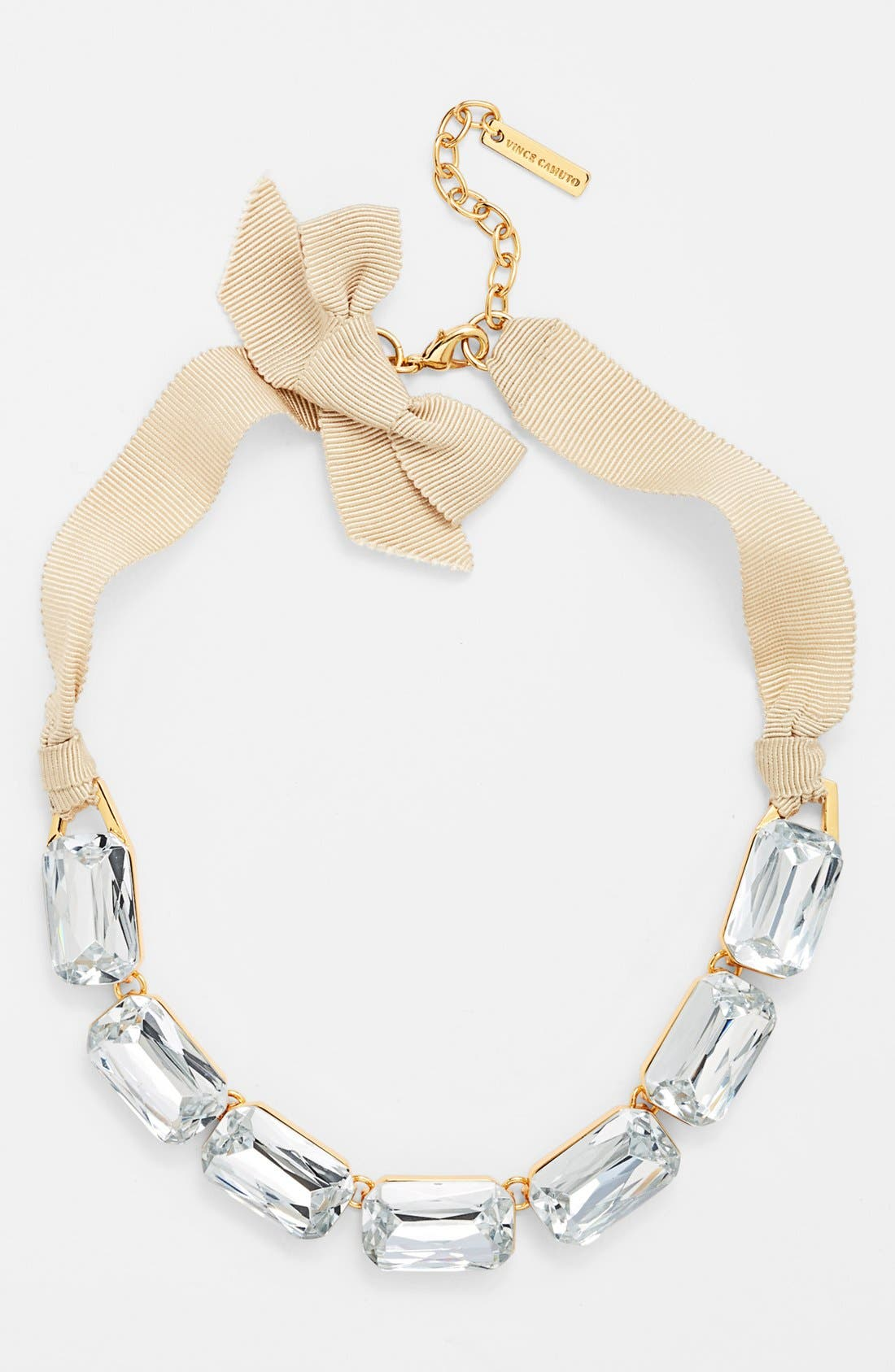 Alternate Image 2  - Vince Camuto 'Crystal Clear' Crystal & Ribbon Frontal Necklace
