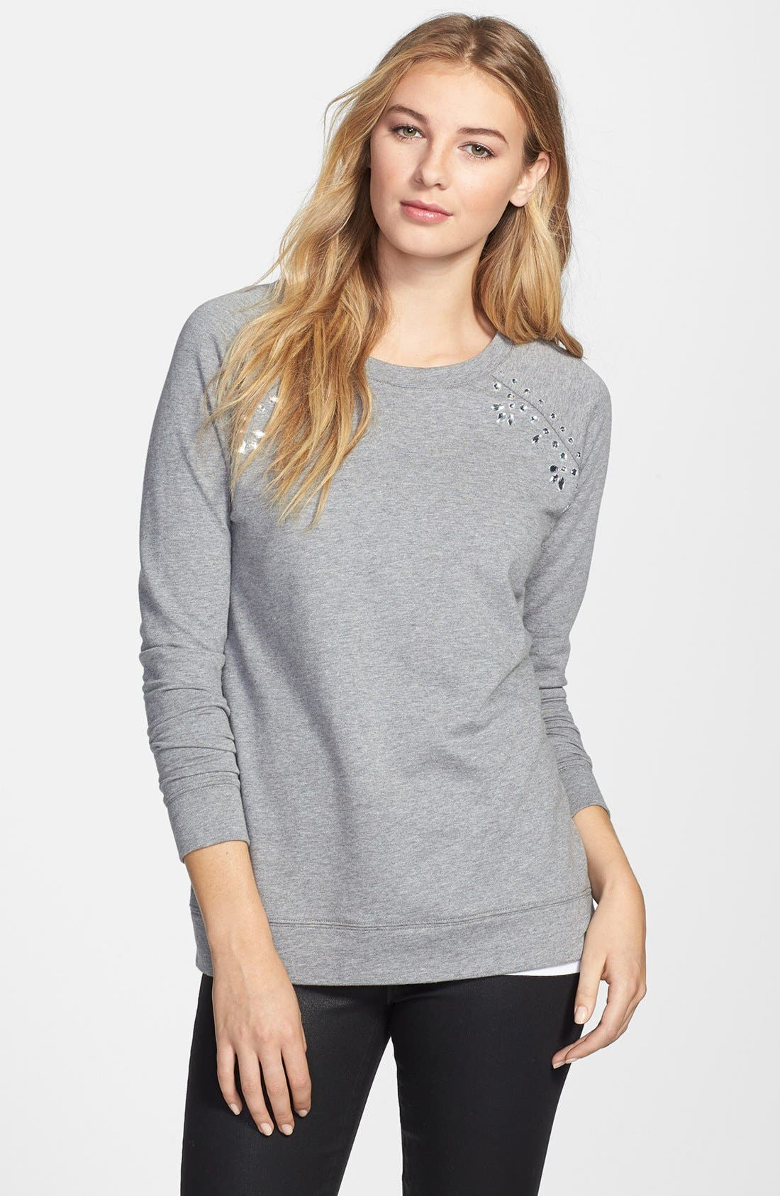 Alternate Image 1 Selected - Two by Vince Camuto Embellished Raglan Sleeve Cotton Blend Sweatshirt