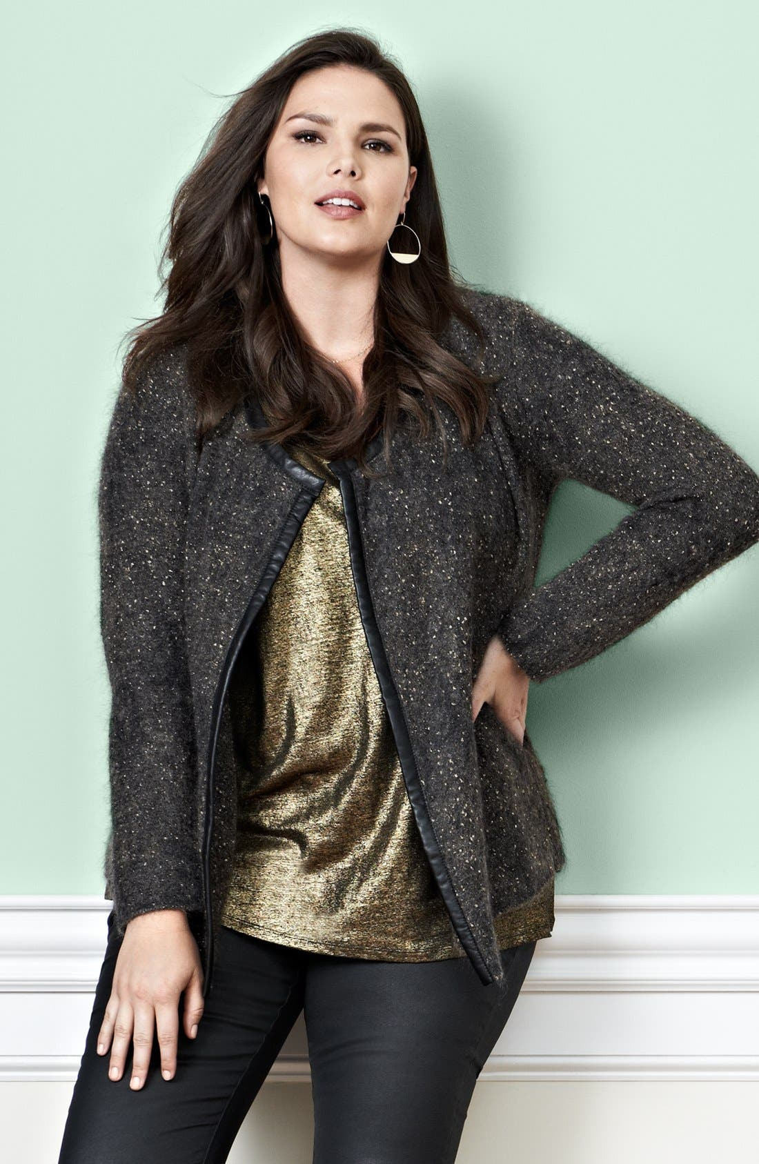 Alternate Image 5  - Eileen Fisher Leather Trim Jacket (Plus Size)