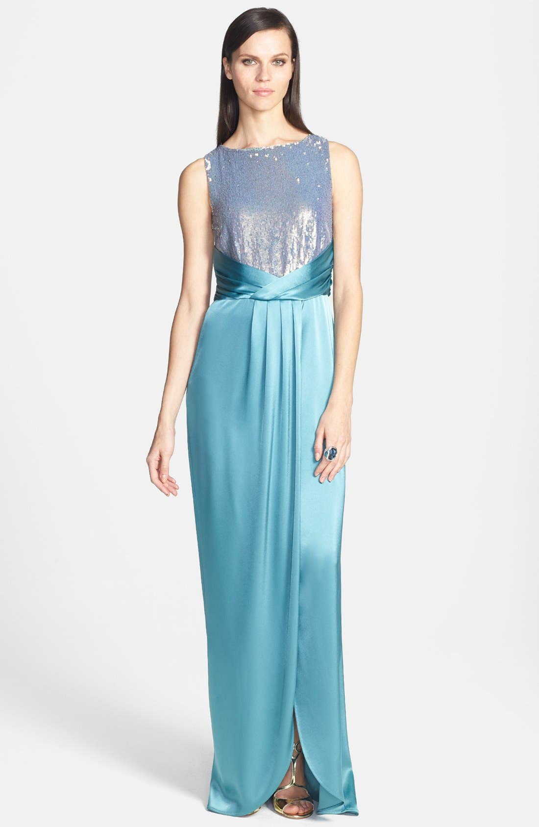 Main Image - St. John Collection Sequin Bodice Liquid Satin Gown with Train