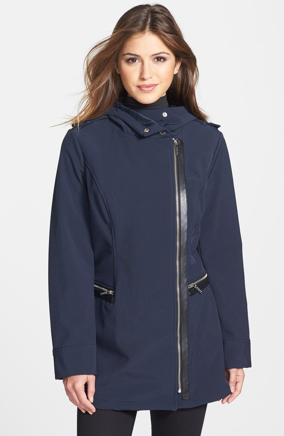 Alternate Image 1 Selected - MICHAEL Michael Kors Faux Leather Trim Soft Shell Jacket (Regular & Petite)