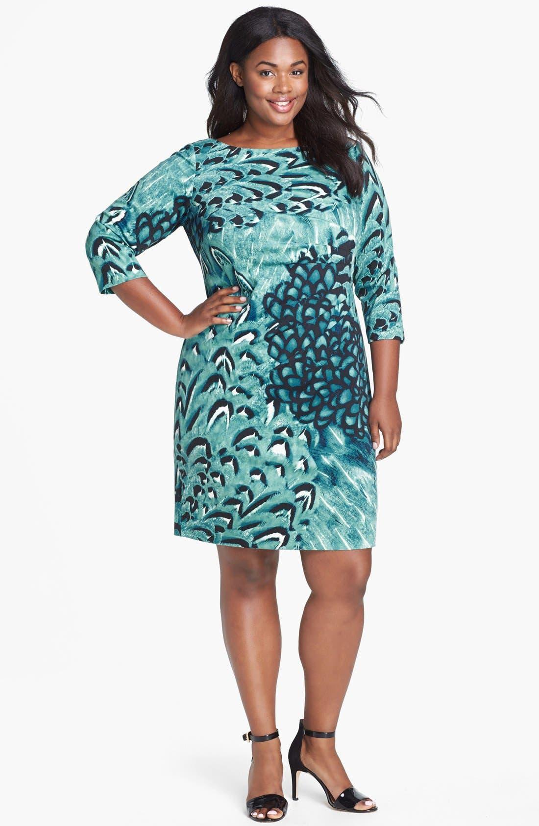 Alternate Image 1 Selected - Jessica Simpson Print Side Pleat Sheath Dress (Plus Size)