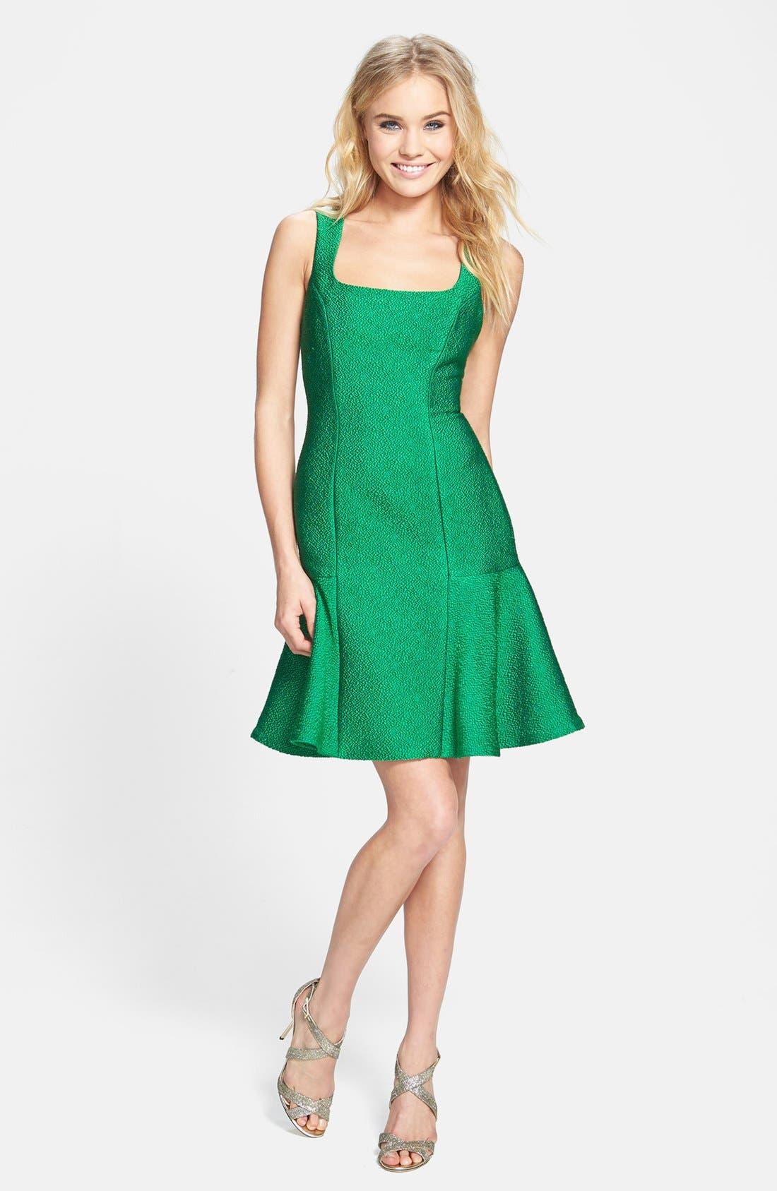 Main Image - ML Monique Lhuillier Jacquard Drop Waist Dress
