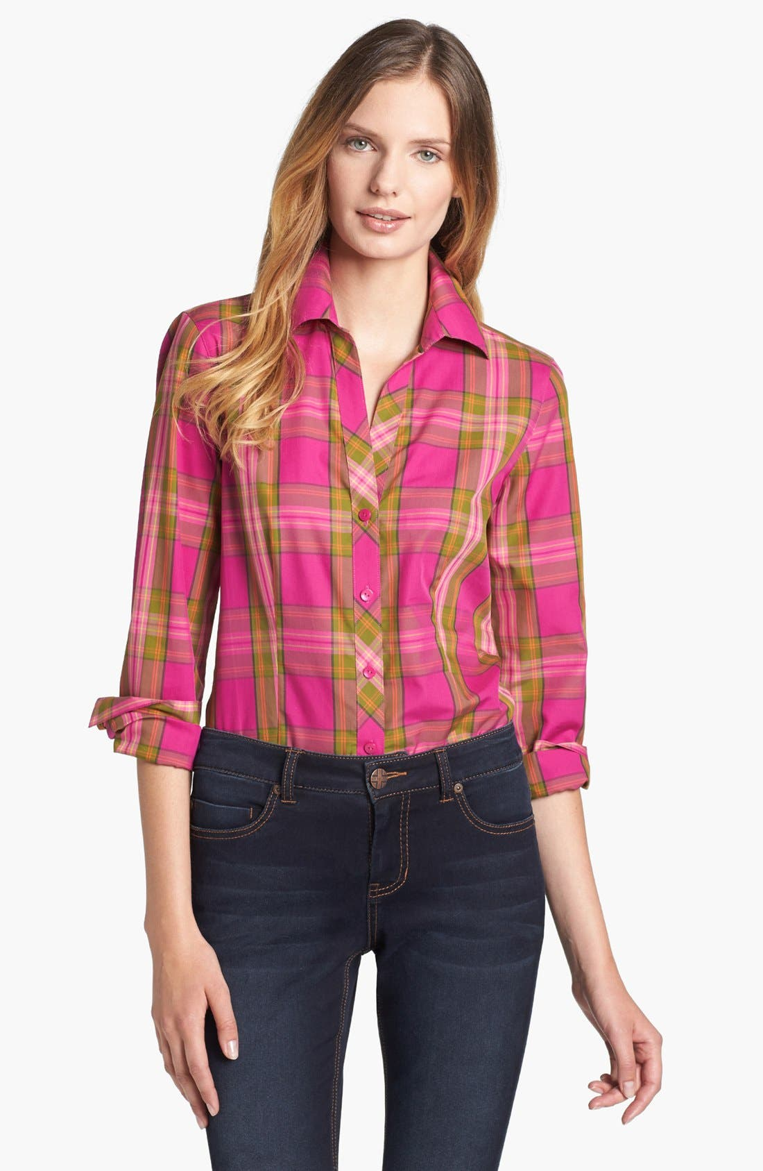 Main Image - Foxcroft 'Autumn Tartan' Woven Cotton Shirt (Petite)