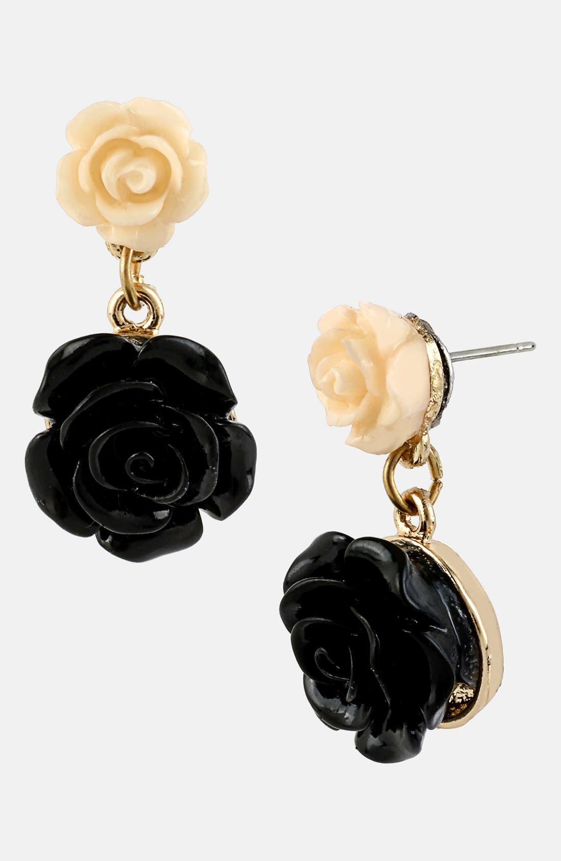 Main Image - Betsey Johnson 'Fab Flowers' Rose Drop Earrings