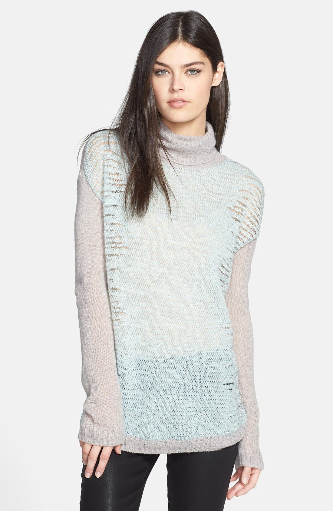 Alternate Image 1 Selected - Trouvé Turtleneck Mixed Knit Sweater