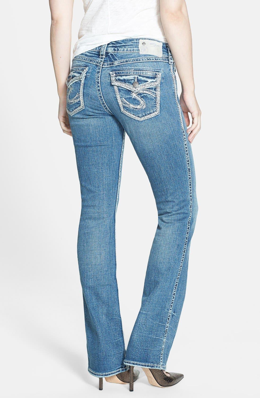 Alternate Image 2  - Silver Jeans Co. 'Suki' Flap Pocket Bootcut Jeans (Indigo)