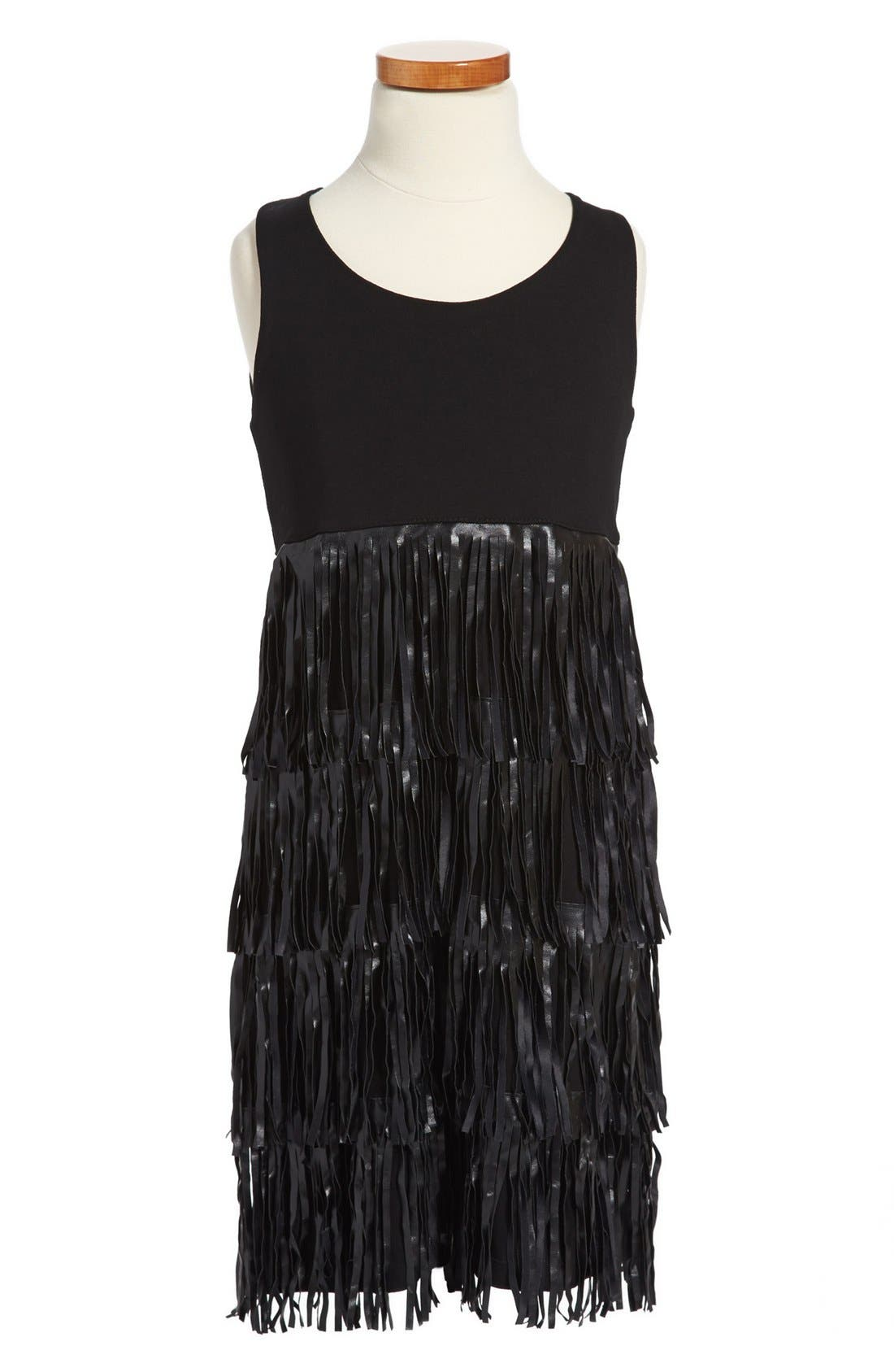 Alternate Image 1 Selected - Flowers by Zoe Sleeveless Fringe Dress (Big Girls)