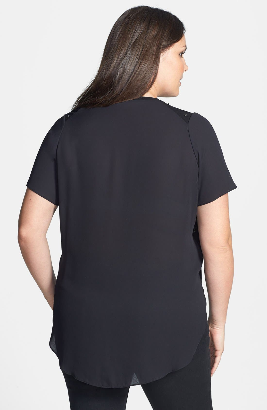 Alternate Image 2  - Vince Camuto Embellished Mixed Media Tee (Plus Size)