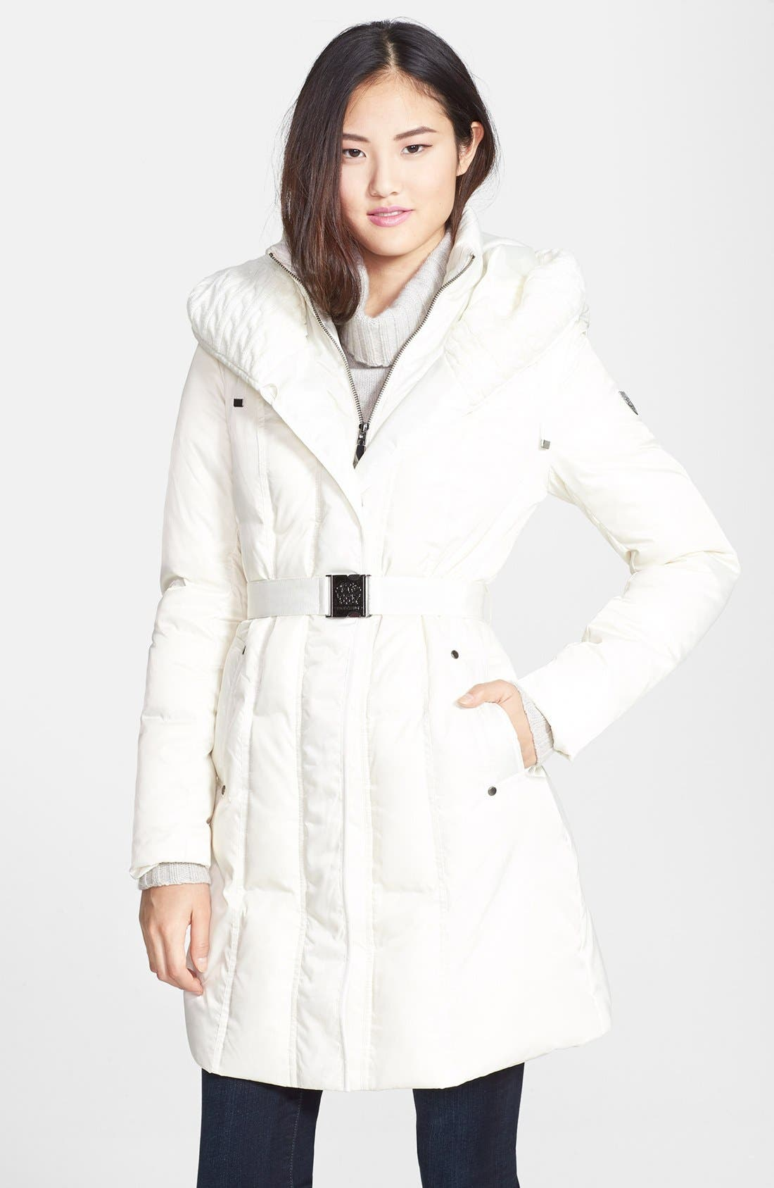 Main Image - Vince Camuto Cable Knit Trim Belted Down & Feather Coat