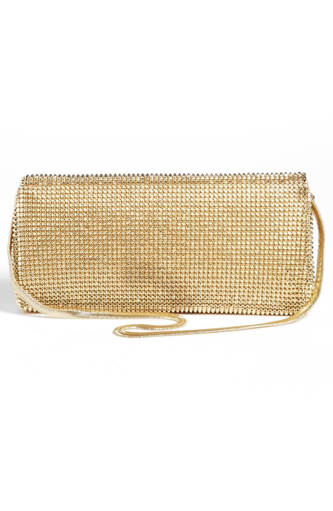 'Pyramid' Mesh Clutch,                             Alternate thumbnail 4, color,                             Gold
