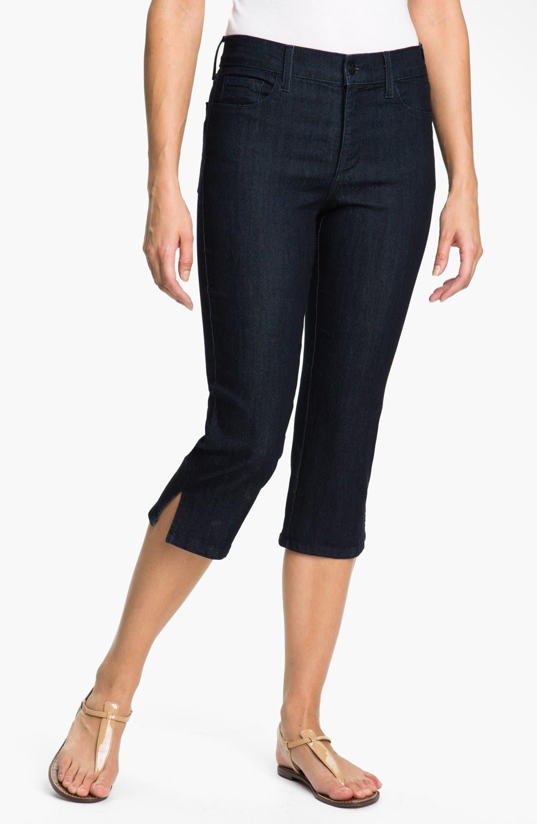 Alternate Image 1 Selected - NYDJ 'Nanette' Stretch Crop Jeans (Dark Enzyme) (Petite)