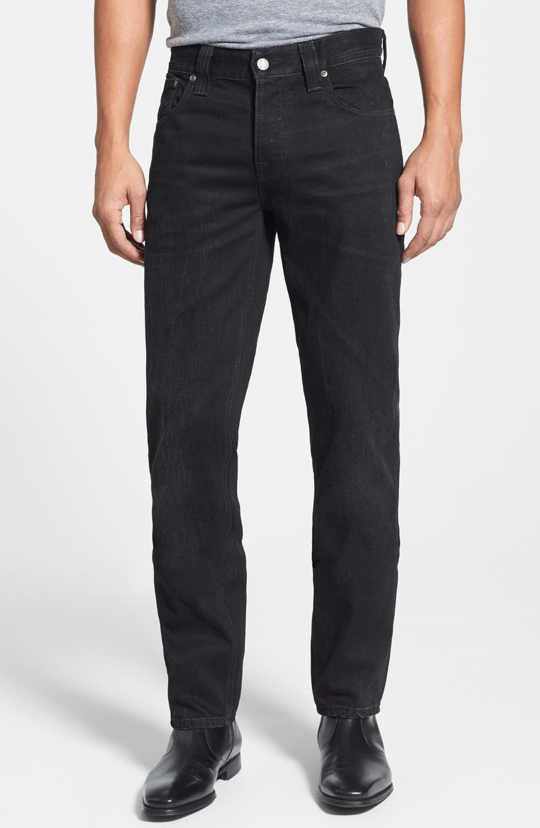 Alternate Image 1 Selected - Nudie Jeans 'Grim Tim' Skinny Fit Jeans (Organic Black Grease)