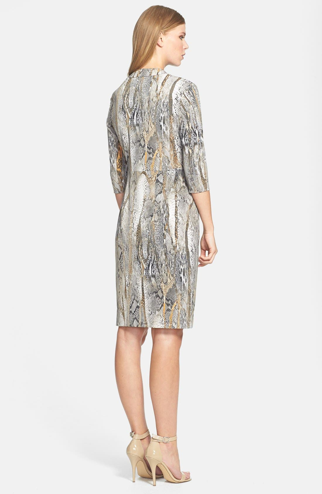 Alternate Image 2  - Donna Ricco Python Print Front Twist Jersey Dress (Regular & Petite)