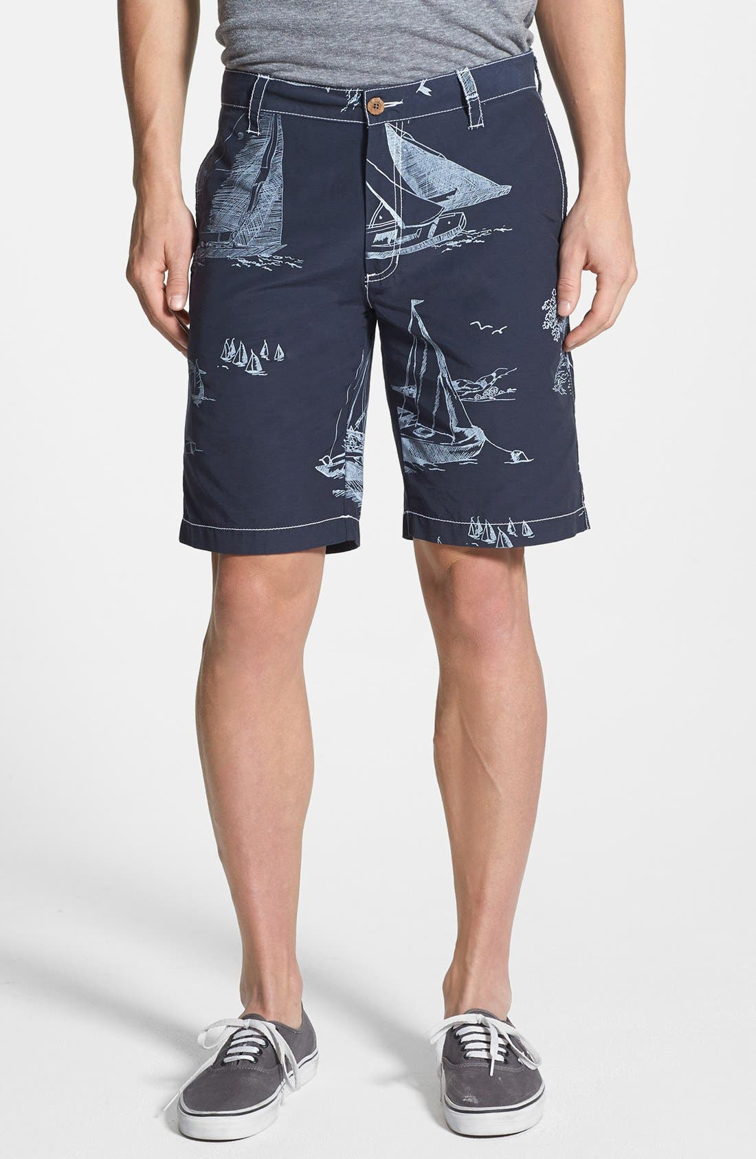 Main Image - Tailor Vintage Sailboat Print Hybrid Shorts