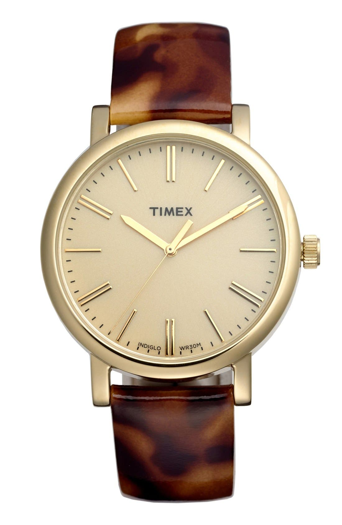 Main Image - Timex® Round Patent Leather Strap Watch, 38mm