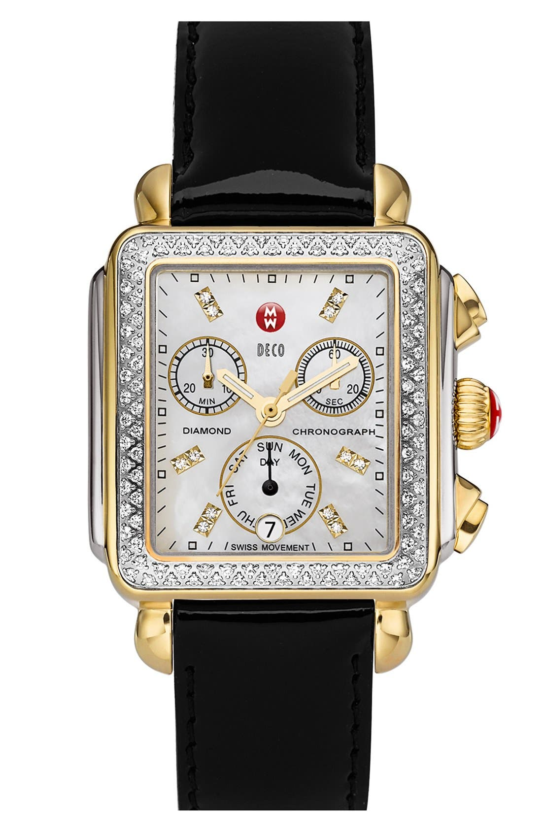 Alternate Image 2  - MICHELE 'Deco Diamond' Two-Tone Watch Case & 18mm Patent Leather Strap
