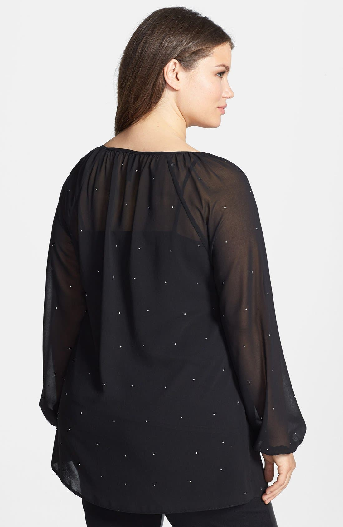 Alternate Image 2  - Evans 'Diamante' Embellished Chiffon Blouse (Plus Size)