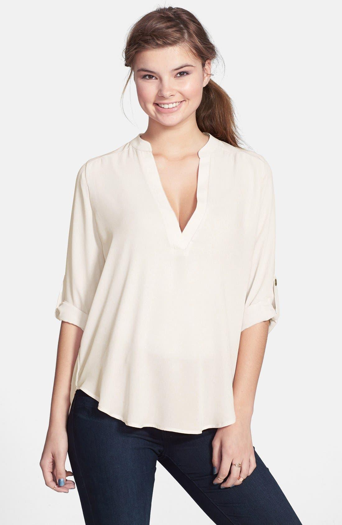 Roll Tab Sleeve Woven Shirt
