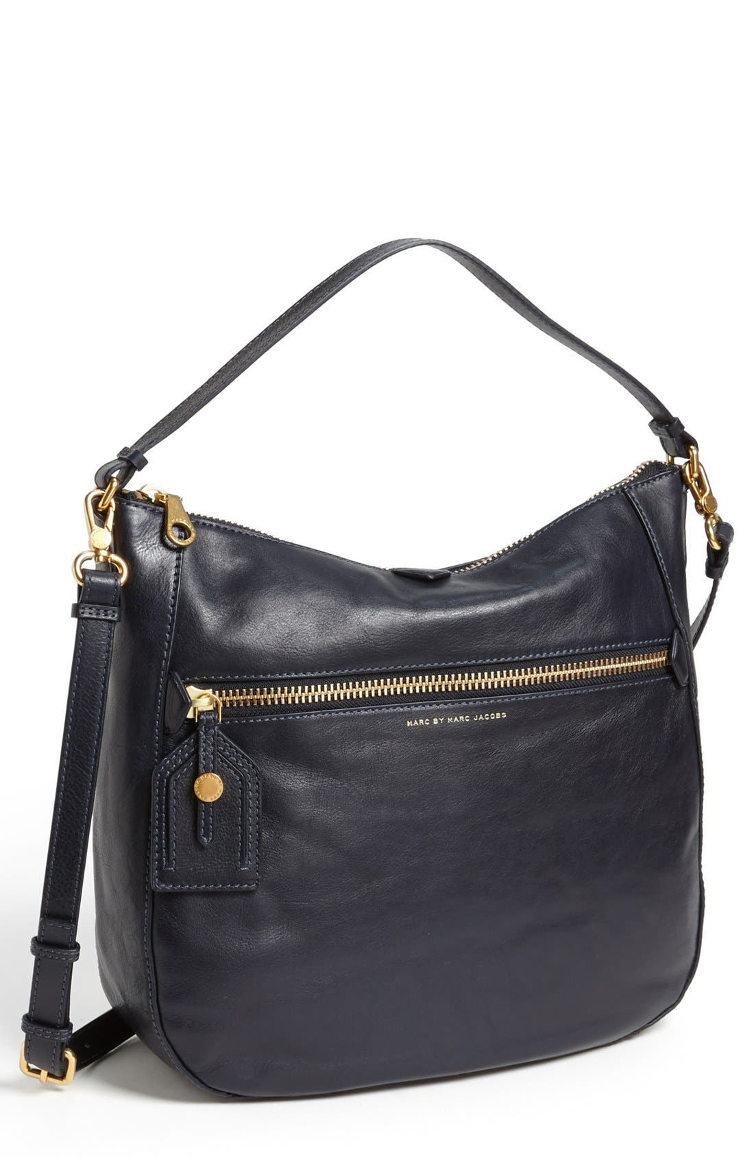 MARC BY MARC JACOBS 'Globetrotter - Kirsten' Leather Satchel,                             Main thumbnail 1, color,                             Midnight Navy