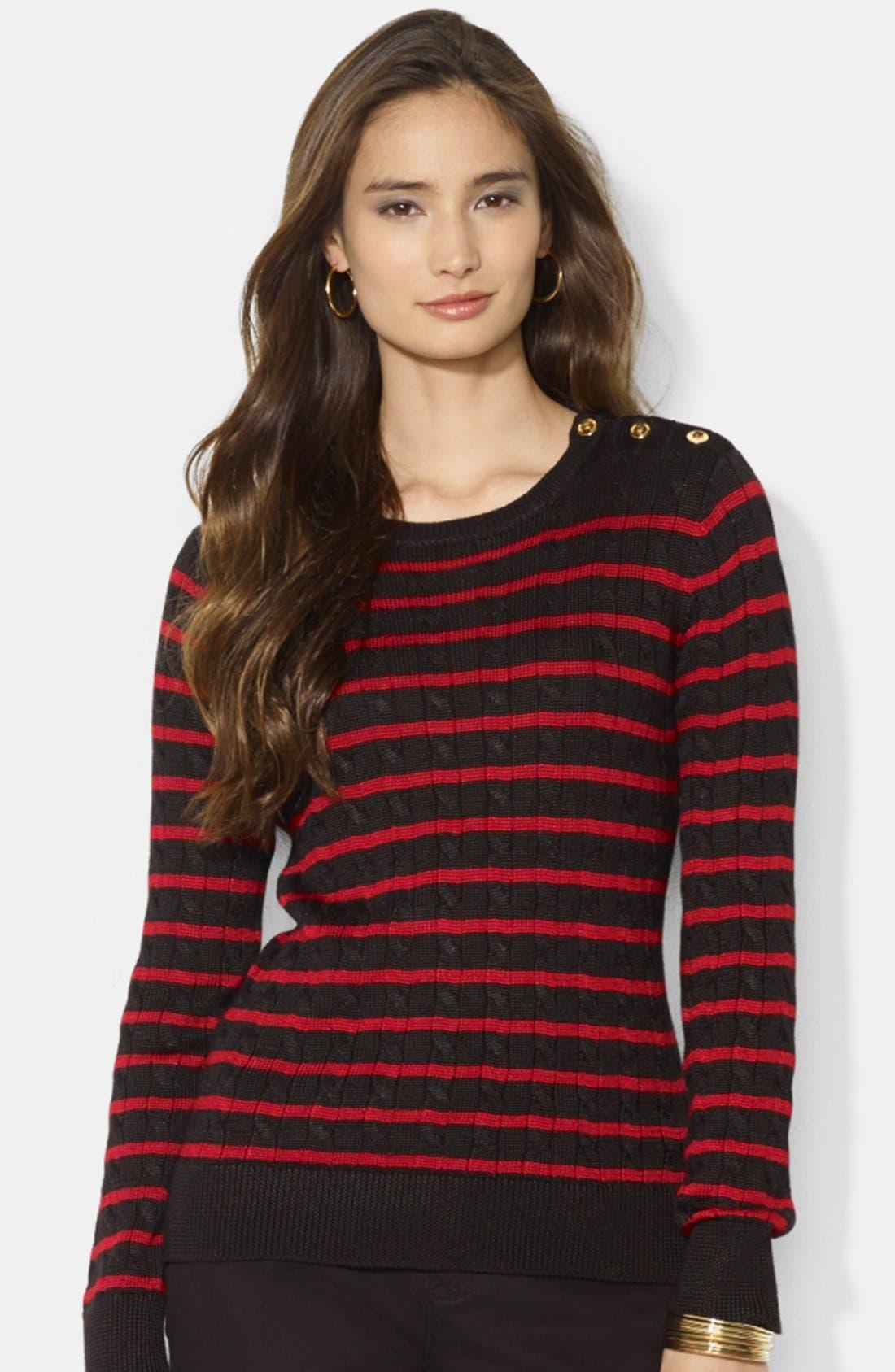 Main Image - Lauren Ralph Lauren Stripe Cable Knit Crewneck Sweater
