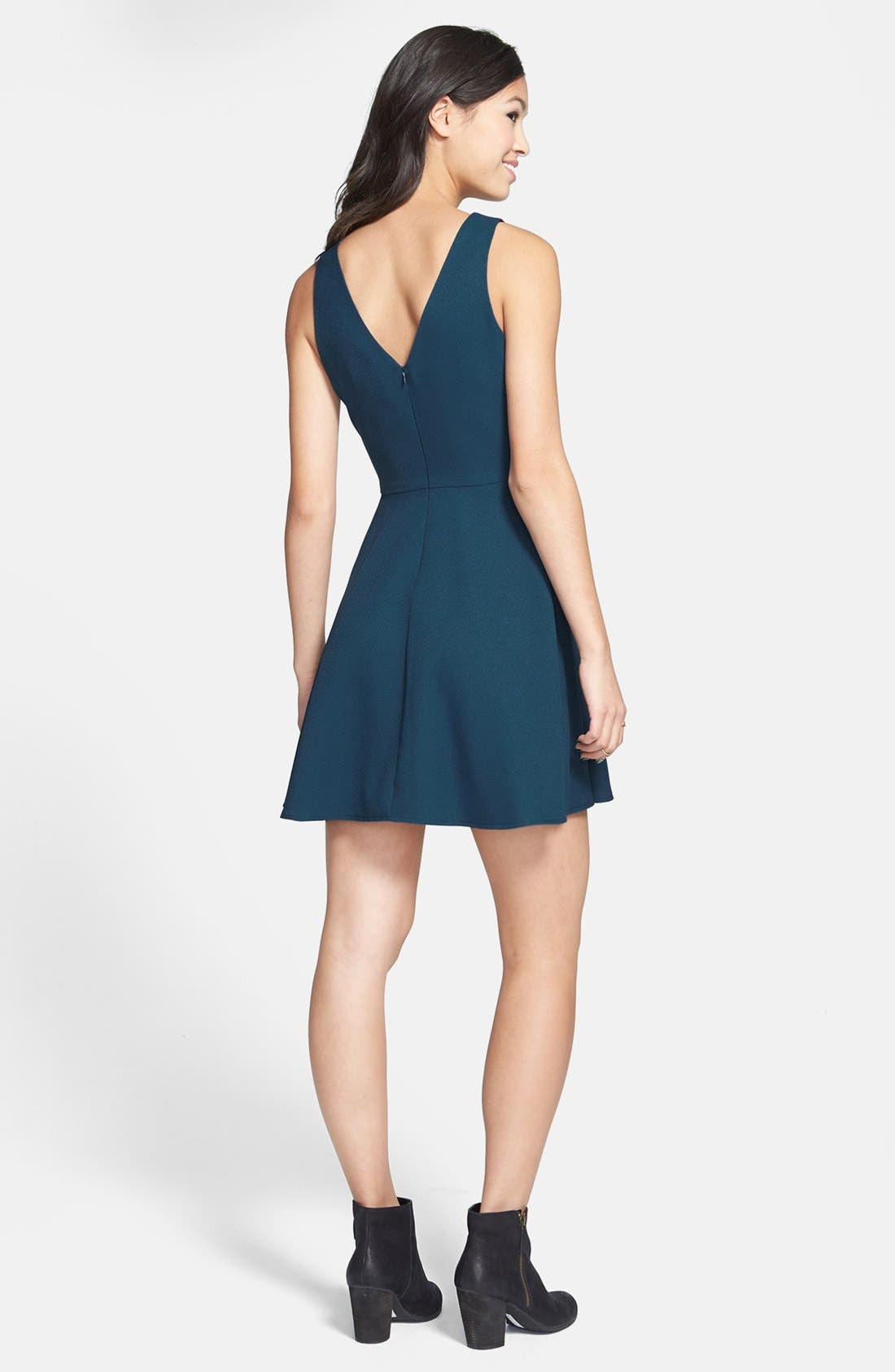 Alternate Image 2  - Lush V-Back Skater Dress (Juniors)