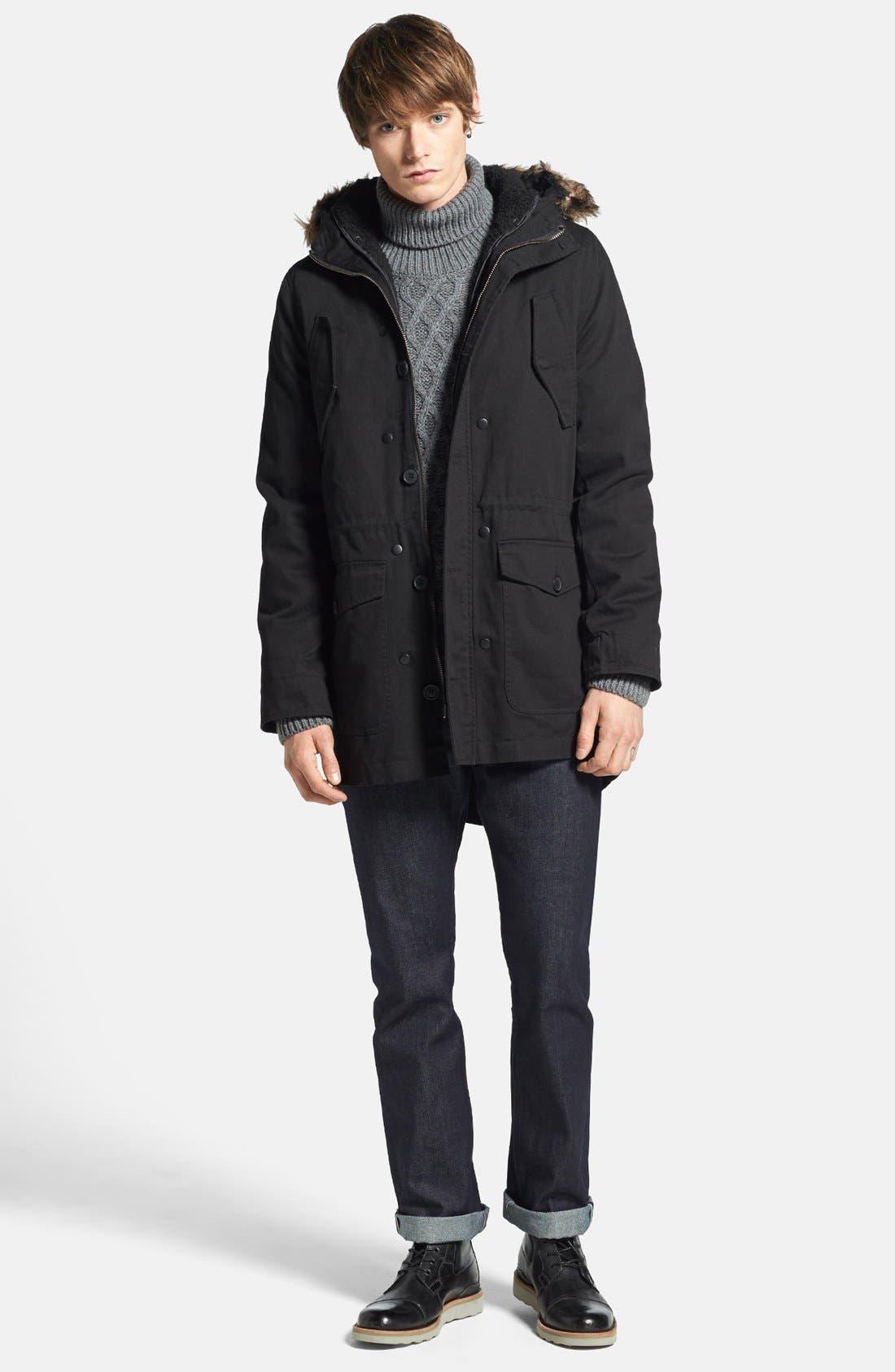Alternate Image 4  - Topman Fishtail Parka with Detachable Faux Fur Trimmed Hood
