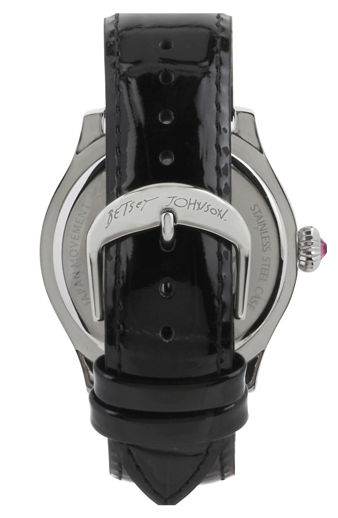 Alternate Image 2  - Betsey Johnson 'Bling Bling Time' Skull Dial Leather Strap Watch