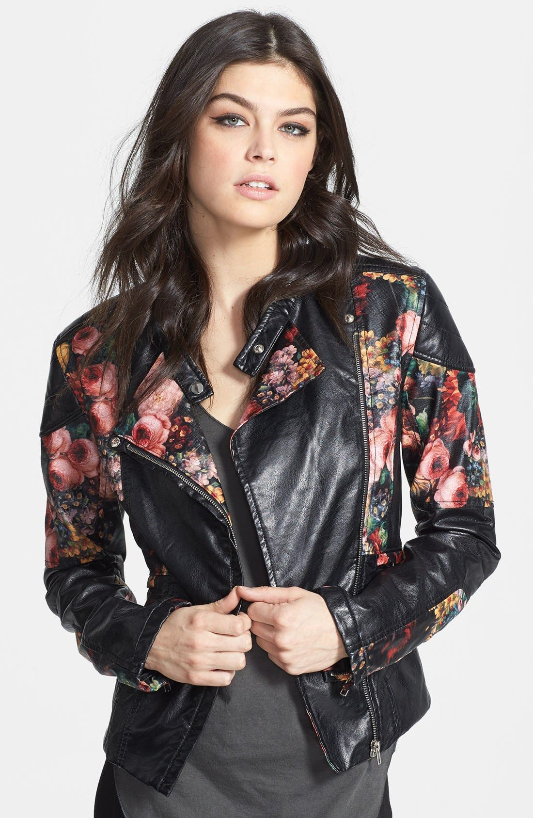Main Image - BLANKNYC Floral Faux Leather Jacket