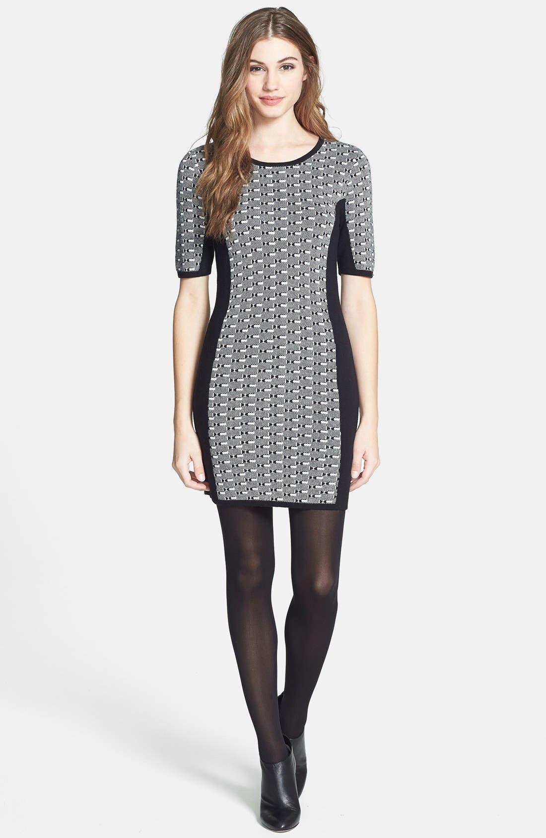 Alternate Image 1 Selected - Dex Colorblock Geometric Jacquard Sweater Dress