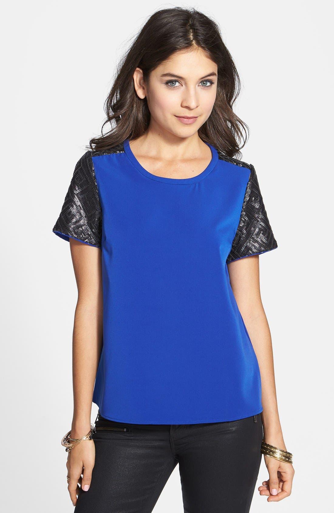 Main Image - C. Luce Sequin Sleeve Top (Juniors)