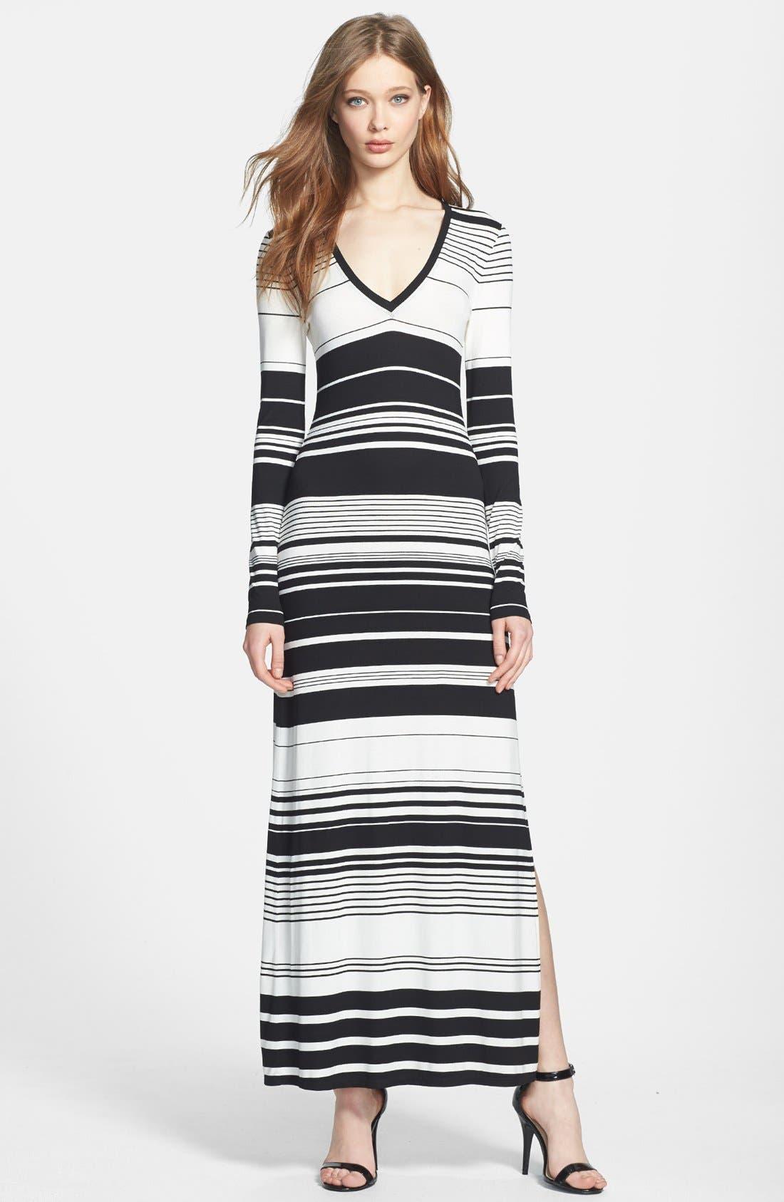 Main Image - BCBGMAXAZRIA Stripe Jersey Maxi Dress